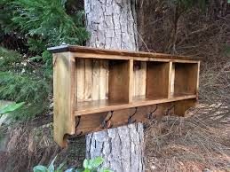 hanging rustic coat rack with cubbies