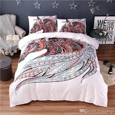 brilliant colorful horse printing abstract bedding set white duvet cover sets decor girls home improvement neighbor