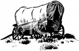 black and white covered wagon. black and white covered wagon - royalty free clipart picture #