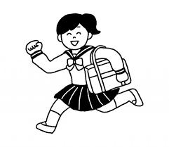 通学するセーラー服女子のイラスト 無料イラスト素材素材ラボ