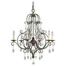 feiss cau collection 6 light chandelier in bronze finish crystal chandeliers chandeliers