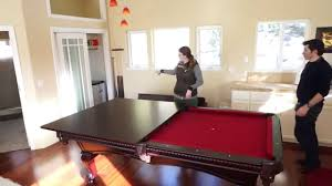 Pool table dining top Ping Pong Using The Pool Table Dining Table Conversion Top In The Guest House Youtube Youtube Using The Pool Table Dining Table Conversion Top In The Guest