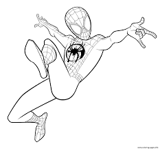 New spiderman costume coloring page located under the new spiderman coloring pages. Spider Man Coloring Miles Morales Coloring Pages Printable