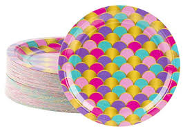 Disposable Plates - 80-Count Paper Plates, Mermaid Party Supplies for Appetizer, Lunch, Dinner, and Dessert, Scallop Design, 9 Inches Diameter | WantItAll