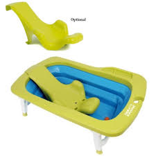 deluxe folding baby bath tub green blue