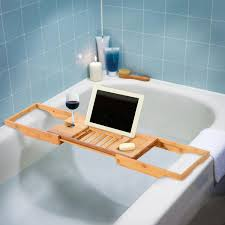 homcom bamboo bathtub caddy shower bath shelf expandable tray holder soap book rack wine organizer