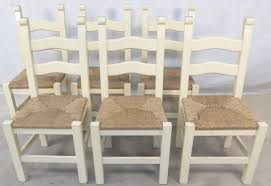 set of six painted wood ladderback rush seat kitchen dining chairs dining chairs with rush seats