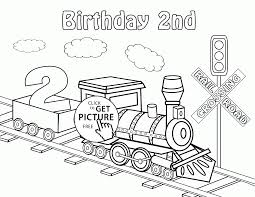 Small Picture Happy 2nd Birthday Card with Train coloring page for kids holiday