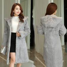90 cm long plus size s 8xl hooded natural rabbit fur coats outerwear women real