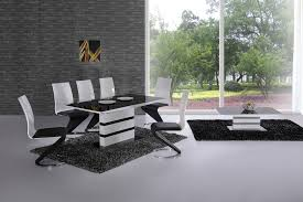 arctic white high gloss extending black glass dining table