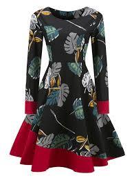 Vintage Dresses Black L Leaves Print Color Block Vintage Pin Up