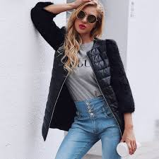 lanshifei new fashion faux fur coat stitching pu leather las winter coats long parka plus size