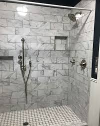 the beautiful new marble and grey hexagon tile shower