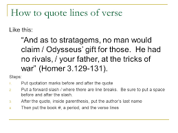 Odyssey Quotes Impressive Integrating Literary Quotations How To Quote Lines Of Verse From