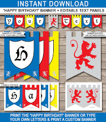 Happy Birthday Signs To Print Knight Party Banner Template