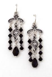 03 04 390 black crystal chandelier earrings keepsake minuet