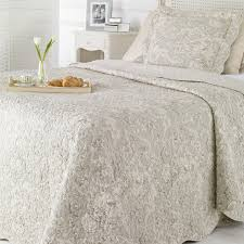 Double Light Grey Toile de Jouy Quilted Bed Cover - French Quilted ... & Double Light Grey Toile de Jouy Quilted Bed Cover Adamdwight.com