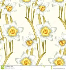 Daffodil Paper Flower Pattern Flower Seamless Pattern With Daffodils Stock Vector Illustration