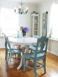 cote dining room with mismatched chairs painted in light blue turquoise and baby blue nelson mather jenna this is what i was thinking table one color