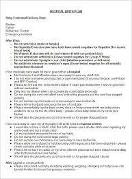 Sample Natural Birth Plan Hospital Birth Plan Hospital Birth Birth Plan Sample