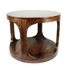 urban designs aris brown wood round side table with shelf wooden side tables furniture side tables living room