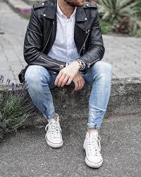 black leather jacket with white shirt denim for men