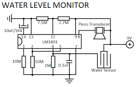 water level sensor circuit water level monitor electronic circuit