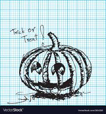 Halloween Pumpkin Sketch On Graph Paper
