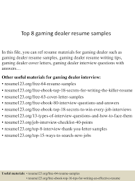 top gaming dealer resume samples machinist resume objective
