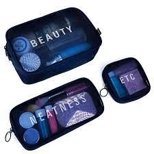 nylon s m l travel women cosmetic bag portable makeup bag mesh case portable box grey s cod