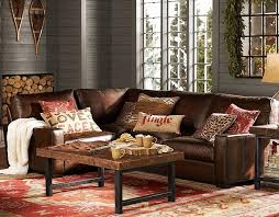 gallery of pottery barn brown leather sofa