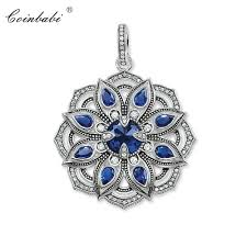 whole pendant blue lotus flower 925 sterling silver zirconia for women bohemia gift thomas fashion ts jewelry pendant fit ts necklace white gold