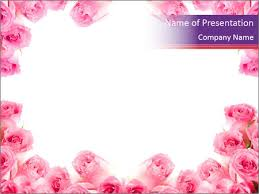 Pink Roses Frame Powerpoint Template Backgrounds Google Slides