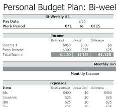 Personal Weekly Budget Templates Bi Weekly Monthly Budget Spreadsheet Personal By Templates C