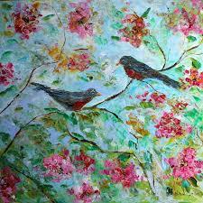 original oil painting spring birds and blooms and rain by karen tarlton