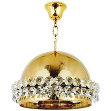 gold plated bakalowits brass globe chandelier diamond crystals austria 1970s for