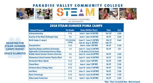 Summer Camp Weekly Schedule Steam Summer Camps Pvcc