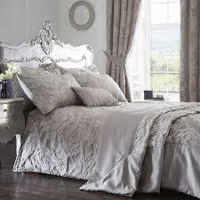 luxury jacquard polycotton duvet cover bedding set silver