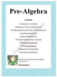 introduction to algebra pre algebra teacher notes examples activities from bayside math teacher