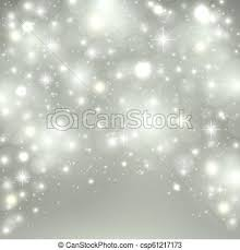Silver Light Background Christmas Design With Snow Snowflakes Sparkle Stars Glitter Winter Holiday Background With Xmas Decoration Vector