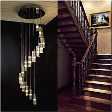 details about pendant lamp modern stairway long crystal spiral chandeliers lighting home decor