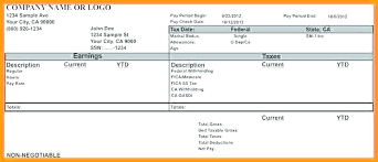Payroll Check Stub Template Free Employee Pay Stub Template Excel Payroll Check For Business