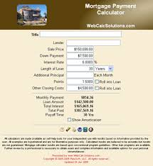 Additional Principal Payment Calculator Mortgage Payment Calculator Information Webcalcsolutions Com
