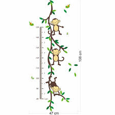 Cartoon Animal Monkey Tree Branch Home Dacor Wall Sticker Baby Child Height Measure Growth Chart For Kids Room Nursery Decals