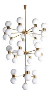 One of Two <b>Exceptional</b> Huge Brass and Frosted Glass Chandelier ...