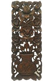 oriental round carved wood lotus wall decor teak wood wall hanging rustic home decor brown 24 extra thick pinterest teak wood carved wood and wood  on tiki wood wall art with oriental round carved wood lotus wall decor teak wood wall hanging