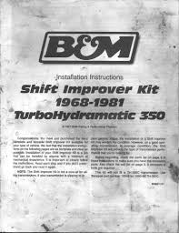 b m th350 shift kit instructions page 1