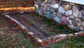 use old bricks to create a border for a