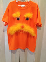 first up is the lorax get yourself an orange shirt and some yellow maribou and googly eyes and you are set you can find the original here