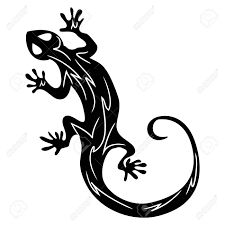 Hand Drawn Illustration Of Salamander In Line Art Style With